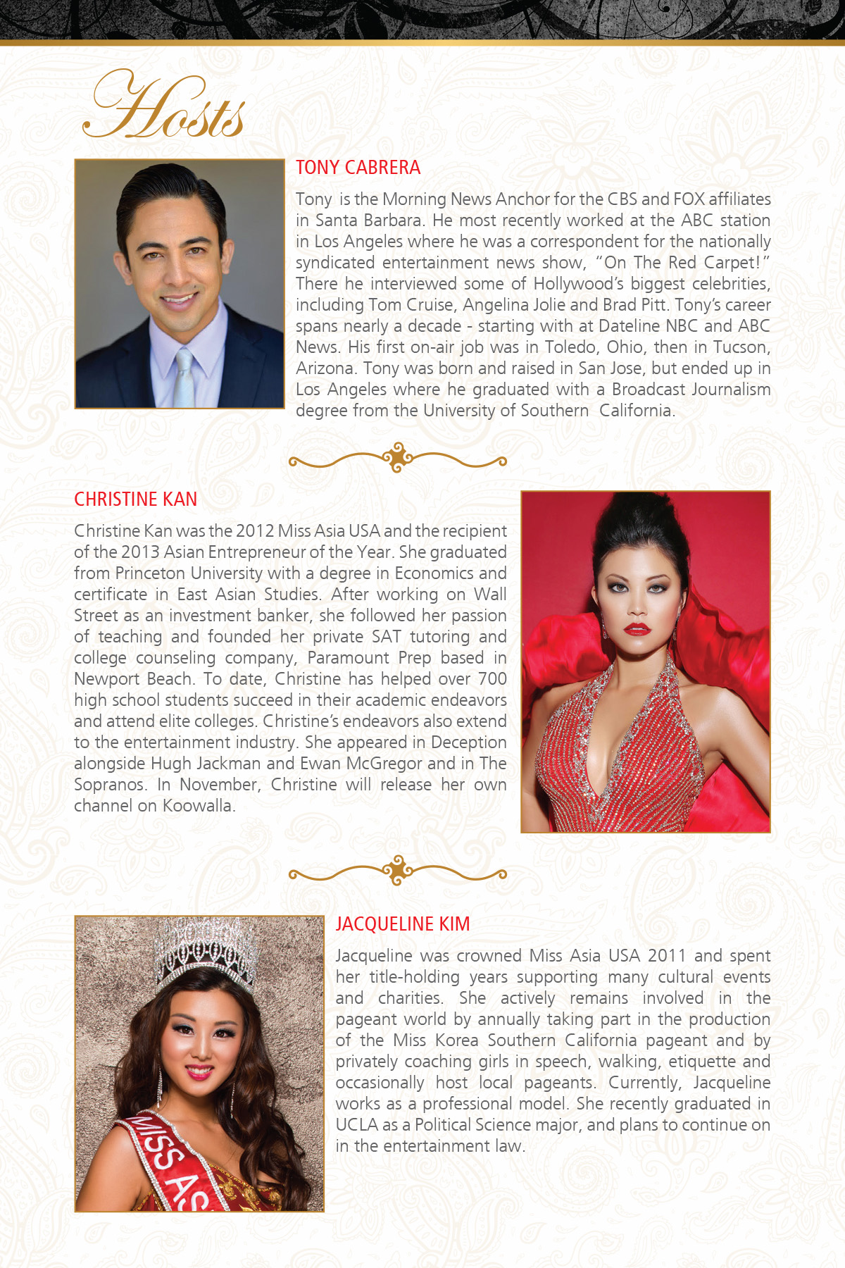 Host  26th Annual Miss Asia USA and Mrs. Asia USA Cultural Pageants