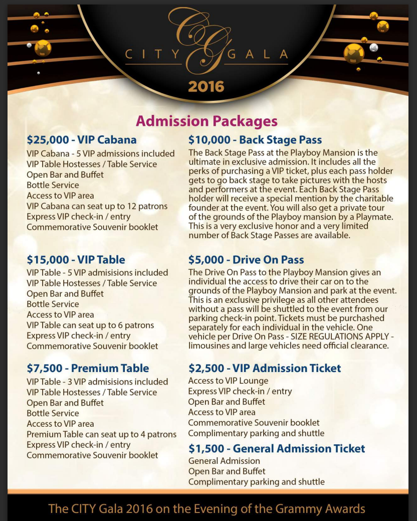 CITY Gala 2016 Admission Packages