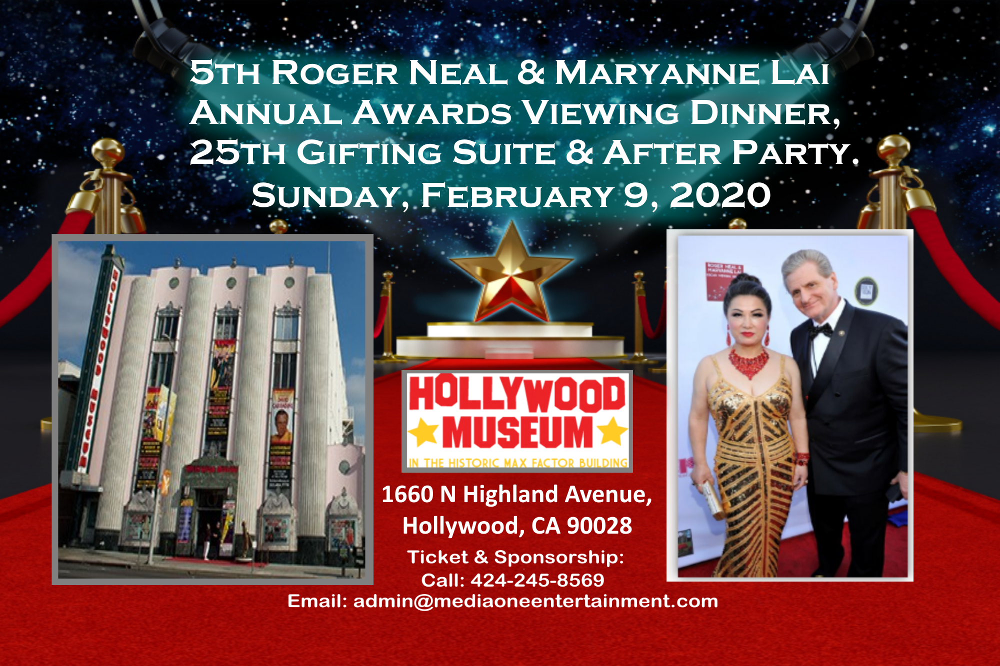 Your Invited The 5th Annual Roger Neal Maryanne Lai Oscar Viewing Dinner 25th Annual Gifting Suite After Party Sunday February 9 2020 Media One Entertainment